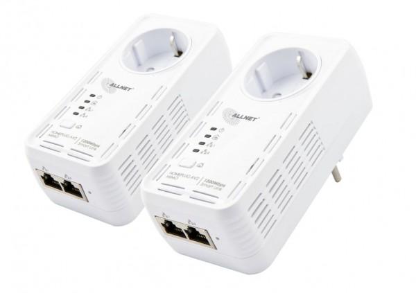 """ALLNET Schweiz Powerline 1200Mbit 2er Bundle Bridge RJ45 HomePlugV2 """"SmartLink"""" Passtrough ALL1681205"""
