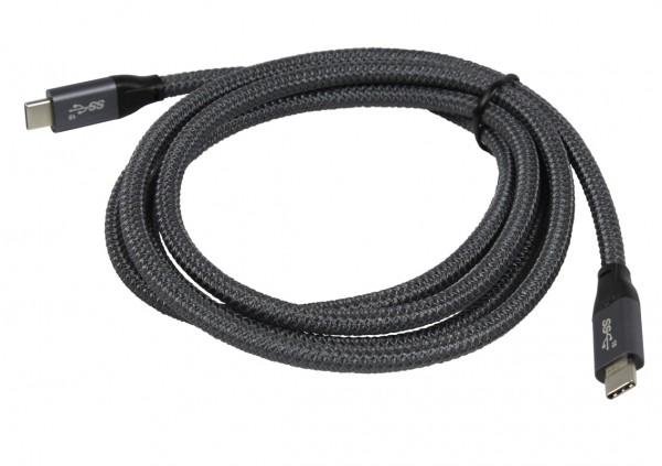 Kabel USB3.1, 2,0m, C(St)/C(St), Silber-Grau, 10G/5A, Gen 2, E-Marker Chip, aktives PD USB-C