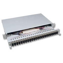 """LWL-Patchpanel Spleisbox,19"""",24xSC-Duplex, 50/125um, auszier"""