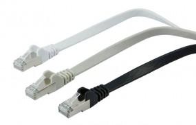 Patchkabel RJ45, CAT6A 500Mhz, 3m, schwarz, U/FTP, flach, Synergy 21