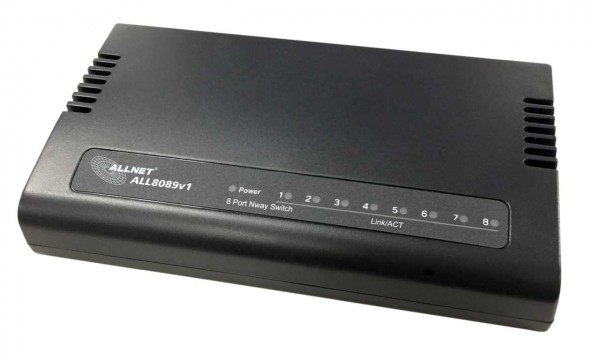 "ALLNET Switch unmanaged 8 Port Fast Ethernet / 8x LAN / Lüfterlos / ""ALL8089v1"""