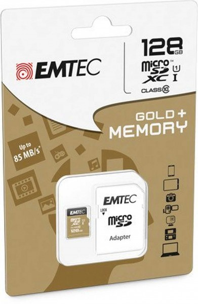 Flash SecureDigitalCard (SD) 128GB *EMTEC* microSDXC 128GB EMTEC + Adapter CL10 Gold+ UHS-I 85MB/s Blister