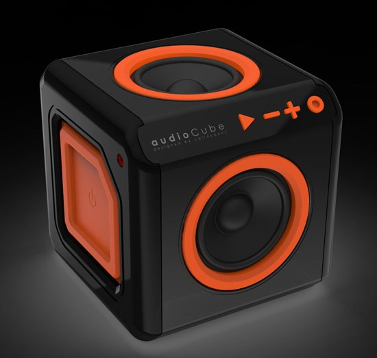 Allocacoc AudioCube EU, Bluetooth 4.0, Schwarz/Orange, ohne Akku
