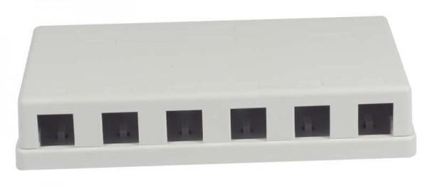 Keystone, Modulträger, Patchpanel für 6x TP-Modul, Aufputz, weiss(PVC), Synergy 21,