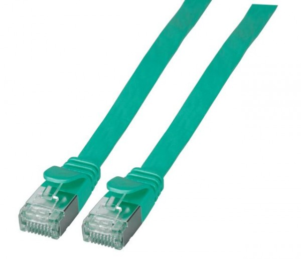 Patchkabel RJ45, CAT6A 500Mhz, 0,5m, grün, U/FTP, flach,