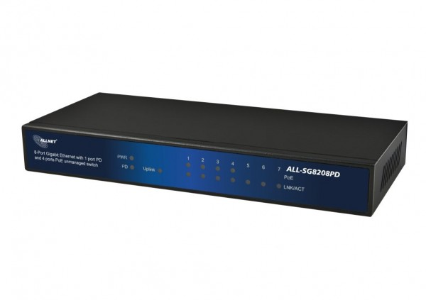 ALLNET ALL-SG8208PD / unmanaged 8 Port Gigabit Switch, 1x AT 30W IN, 4x PoE out, 4x LAN out