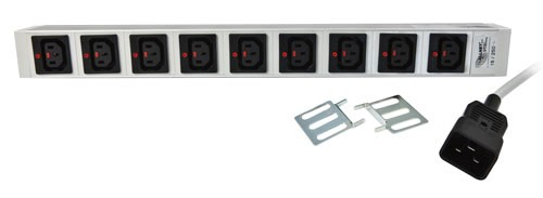 "ALLNET 19""zbh. Steckdosenleiste, 9xKaltgeräte(C13)->Kaltgeräte(C20), mit Verriegelungssystem"