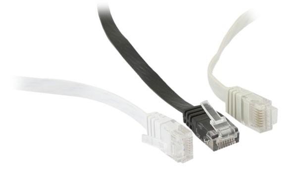 Patchkabel RJ45 UTP(U/UTP). 1.0m grau, CAT6, PVC, Flach, Synergy 21,