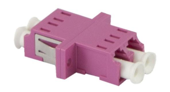 LWL-Kupplung, LC-Buchse/LC-Buchse, 50/125u Multimode, duplex, PVC, Keramikhülse, OM4, mit Flansch, Synergy 21