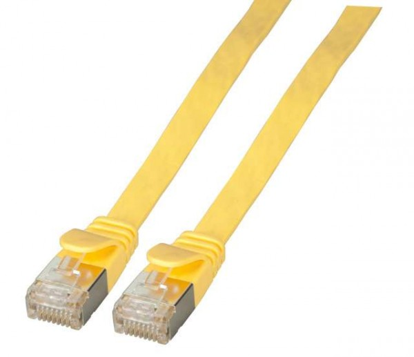 Patchkabel RJ45, CAT6A 500Mhz, 0,5m, gelb, U/FTP, flach,