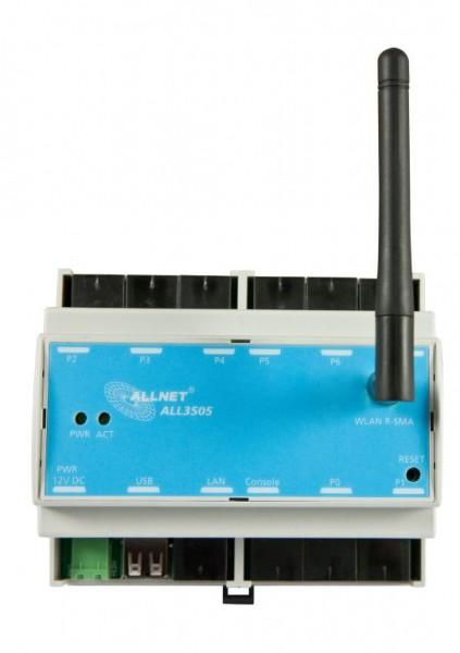 """ALLNET MSR Zentrale """"ALL3505"""" inkl. 8 Sensor Ports & Hutschienen Montage für IP Gebäude Automation"""