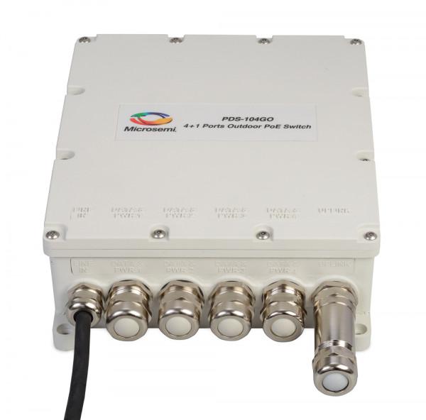 Microsemi Outdoor Switch , 4+1 ports, 60W per port, 10/100/1000 BaseT , AC input, PoE Managed