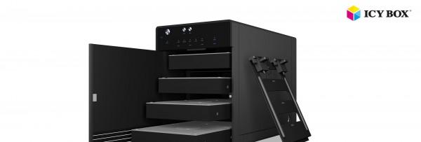 "ICY Box Gehäuse, ext.SATA 2,5/3,5"" 4x -> USB 3.1 Type-C, Black, IB-3740-C31,"