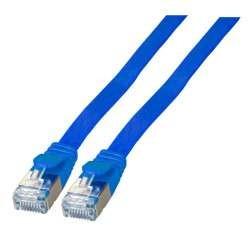 Patchkabel RJ45, CAT6A 500Mhz, 0.5m, blau, U/FTP, flach,