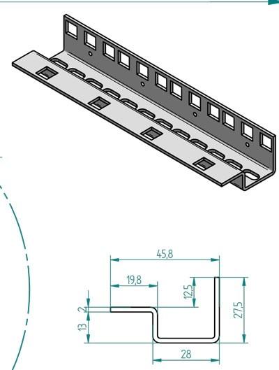 """Triton 19""""zbh. Profilschiene 37HE, Vertikal, Stückweise,"""