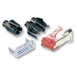 TP-Stecker STP Hirose, CAT6(TM21),100-PACK, incl.Knickschutz, R