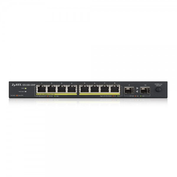 ZyXEL Switch unmanaged PoE 10Ports, 8xRJ, GS1100-10HP