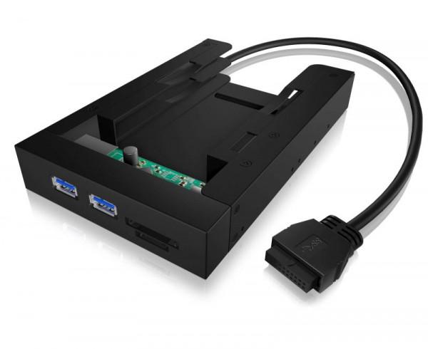 """ICY Box Einbaurahmen Multi, 3,5'', für 2x 2,5"""" SSD/SAT , IB-AC646, Schwarz"""