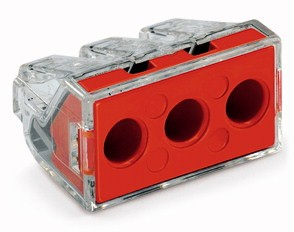 Wago Serie 773-173 - 3-Leiter-Klemme (50 Stück) transparent, Deckel rot