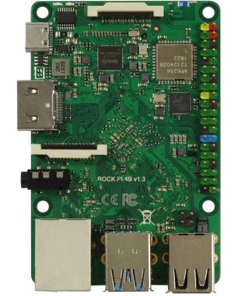 Rock Pi 4 Model B 4GB V1.4 (mit Dualband 2,4/5GHz WLAN/Bluetooth 5.0) mit UFL Stecker