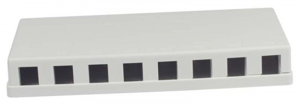 Patch Panel 8xTP, CAT6A, incl.Keystone Slim-line mit Staubschutzklappe, Aufputz PVC, Weiss, Synergy 21,