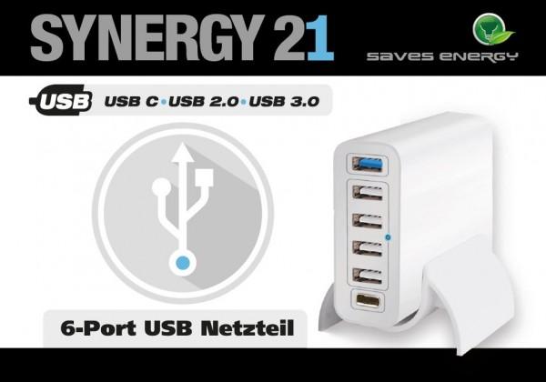 Synergy 21 USB Ladegerät/Netzteil 6-fach 60Watt V2 *ALLTRAVEL*