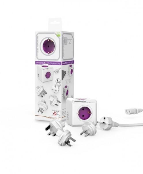 Allocacoc Powercube, ReWirable USB, 4xDosen(CEE7)->Kaltgeräte Stecker(C14), weiss/lila, incl 3x Plugs+IEC Kabel