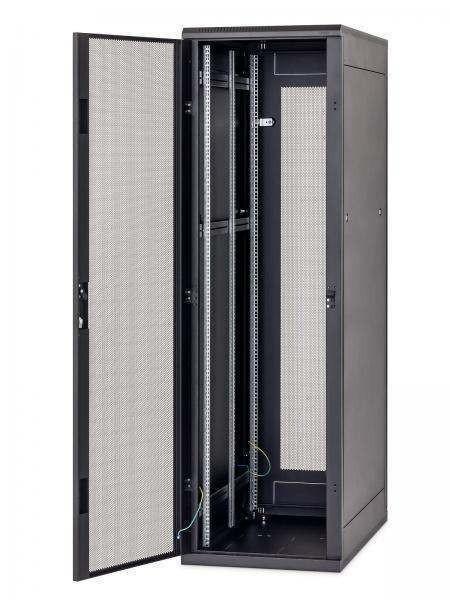 """Triton 19""""Schrank 22HE, B600/T 600, Schwarz, 1-teilige perforiert Front/Rück-tür, 1x perf. Seitenteil"""
