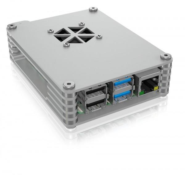 ICY Box Schutzgehäuse für Raspberry Pi® 4, silber, IB-RP109,