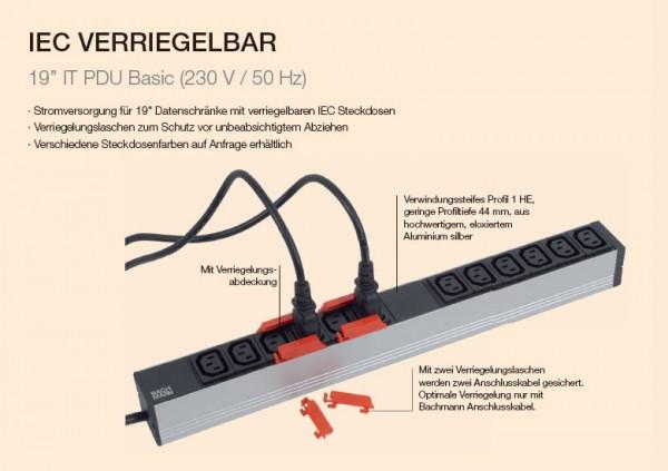 "ALLNET 19""zbh. Steckdosenleiste,12xKaltgeräte(C13)->Stecker(CEE7), mit Verriegelungssystem, Bachmann,"