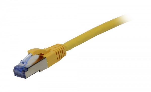 Patchkabel RJ45, CAT6A 500Mhz,10m, gelb S-STP(S/FTP), Komponent getestet, AWG26, Synergy 21
