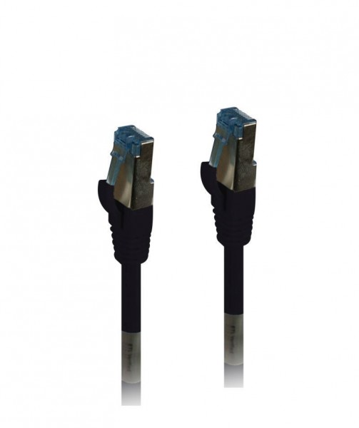 Patchkabel RJ45, CAT6A 500Mhz, 1.0m, schwarz, S-STP(S/FTP), PUR(Außen/Outdoor/Industrie), AWG26, Synergy 21
