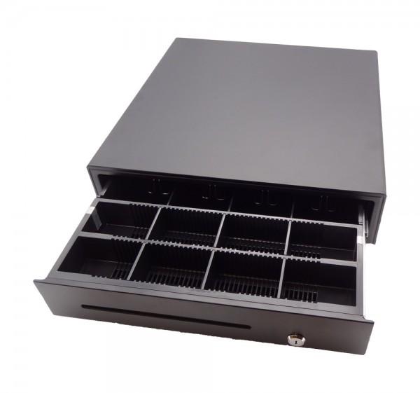 Kasse Hochwertige kugelgelagerte Kassenlade 410x415x100mm, 4 Scheinfächer, 8 Münzfächer