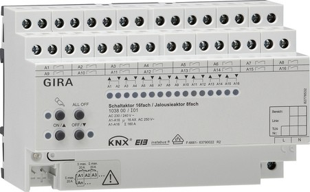 Gira KNX Schaltaktor 16fach 16 A / Jalousieaktor 8fach 16 A mit Handbetätigung