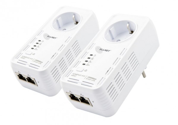 "ALLNET Schweiz Powerline 1200Mbit 2er Bundle Bridge RJ45 HomePlugV2 ""SmartLink"" Passtrough ALL1681205"