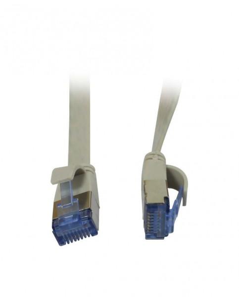 Patchkabel RJ45, CAT6A 500Mhz, 0.25m, grau, U/FTP, flach, AWG32, Synergy 21