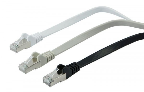 Patchkabel RJ45, CAT6A 500Mhz, 2m, schwarz, U/FTP, flach, Synergy 21