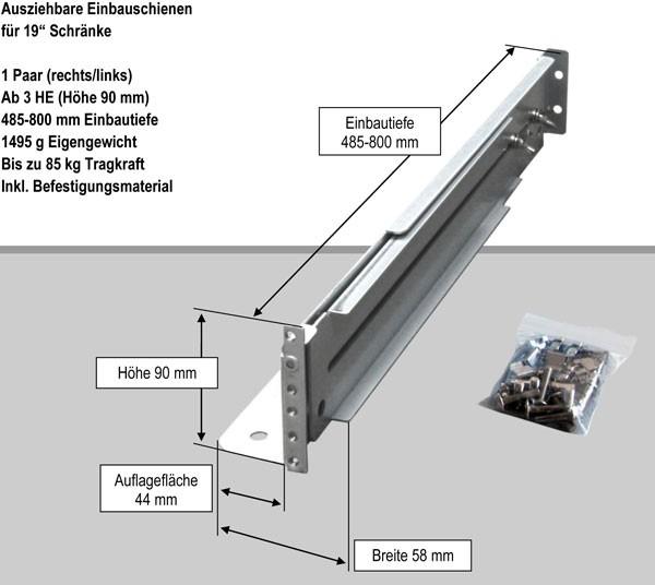 """Effekta zbh.Gleitschienen für 19"""" Schrank, 485-800mm veränderbar, bis zu 85Kg"""