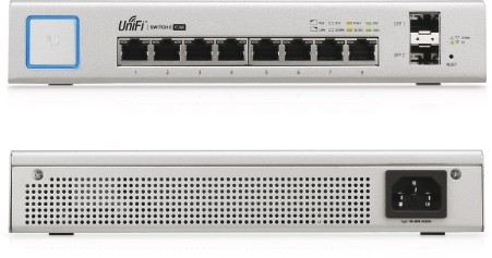 Ubiquiti UniFi Switch, 8 Gigabit RJ45 Ports, 2 SFP Ports, Po