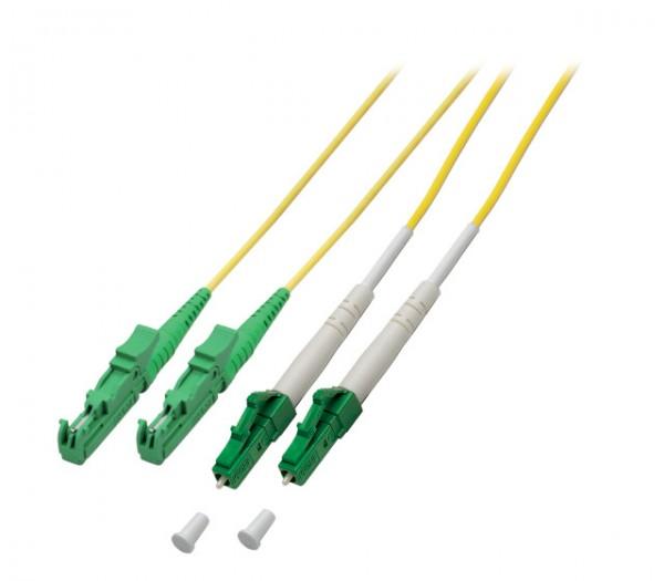 LWL-2-Faser-Patchk. 2mtr.LC(APC 8)-E2000(APC), 9/125um,