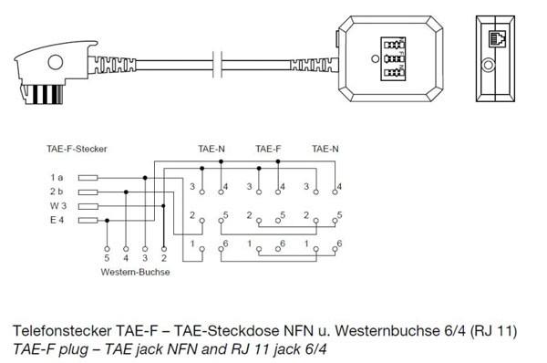 Kabel TK TAE-Adapter, TAE-F-Stecker/NFN-Buchse,