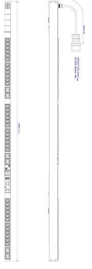 Bachmann PDU, Steckdosen, 36xDosen(C13)+ 6x(C19)-> Zuleitung 3m, 16A, mit Stecker CEE 16A rot, BN3500,
