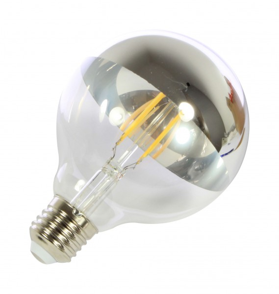 Synergy 21 LED Retrofit E27 G95 bulb 7W filament silberspiegel dim