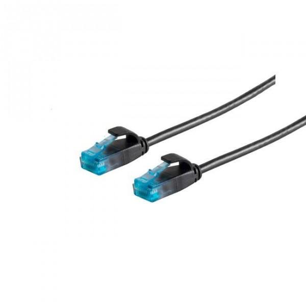 Patchkabel RJ45 UTP(U/UTP). 1.0m schwarz, CAT6, PVC, slimline d=3.5mm,