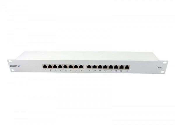 "Patch Panel 16xTP, CAT6A, 500Mhz, 19"", Lichtgrau, Synergy 21,"