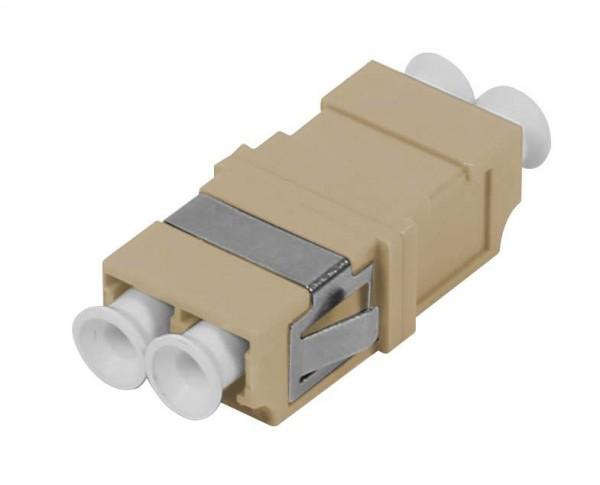 LWL-Kupplung, LC-Buchse/LC-Buchse, 50/125u Multimode OM2, beige, duplex, PVC, ohne Flansch, Synergy 21,