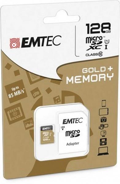 Flash SecureDigitalCard (SD) 128GB *EMTEC* microSDXC 128GB EMTEC + Adapter CL10 Gold+ UHS-I 85MB/s Blister