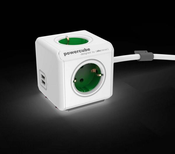Allocacoc Powercube, Extended USB, 4xDosen(CEE7)->Stecker(CEE7), 1,5m, weiss/grün