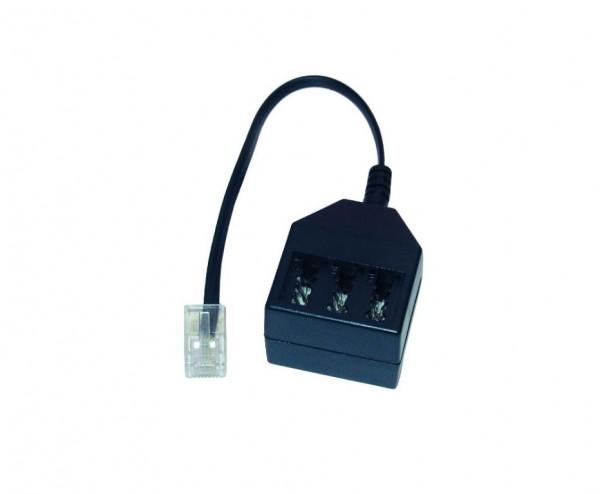 Kabel TK TAE-Adapter, RJ11-Stecker->NFF-Buchsen, m.20cm Kabel