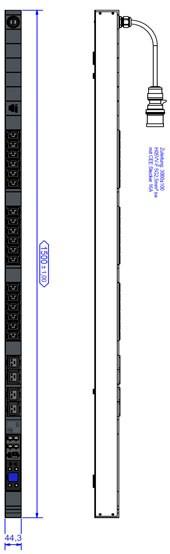 Bachmann PDU, Steckdosen, 18xDosen(C13)+ 4x(C19)-> Zuleitung 3m, 16A, mit Stecker CEE 16A, BN7000,